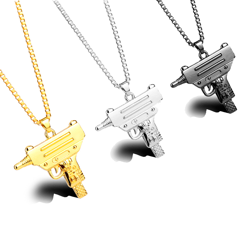 HEYu Pistol Gun Uzi Necklace Star Jewelry Men Hip Hop Dance Charm Franco Chain Hiphop Gaes Golden Maxi Necklace