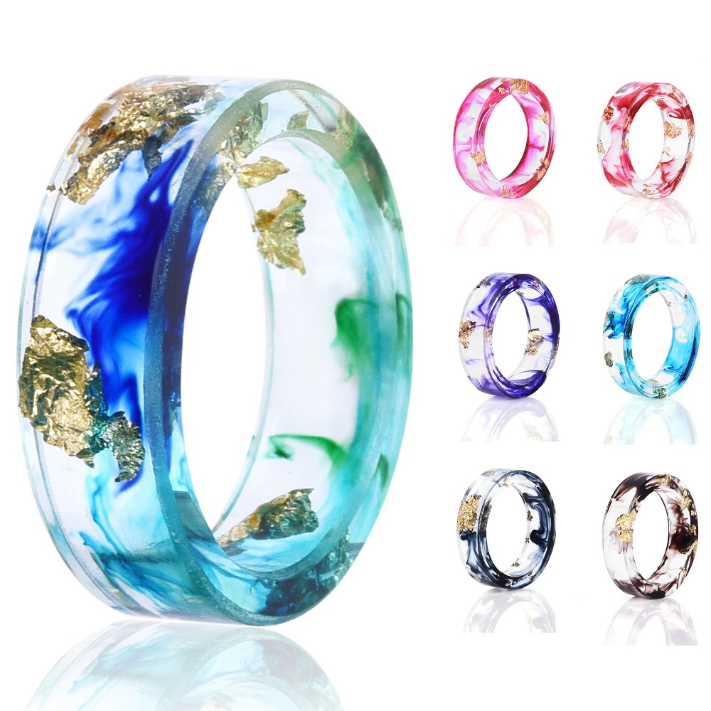 8 Colors High Quality Handmade Gold Silver Foil Paper Inside Transparent Resin Ring For Women Men Jewelry Drop Shipping