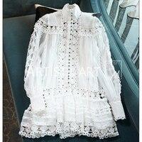 Svoryxiu Лето взлетно посадочной полосы элегантный белый короткое платье Женская мода фонари рукавом полые Ou вышивка отпуск вечерние стиль