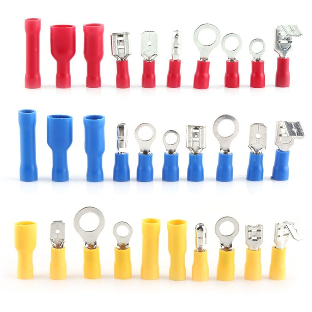 480Pcs/Box Assorted Insulated Electric Wiring Terminal Crimp Spade Connector M4 M5 M6 M8 Rings Bullet Spade Butt Splice etc Kit