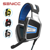 SENICC A8 USB Virtual 7.1 Sound Braided Gamer Headset LED Noise Canceling Gaming Headphones with Hidden MIC for Computer Games