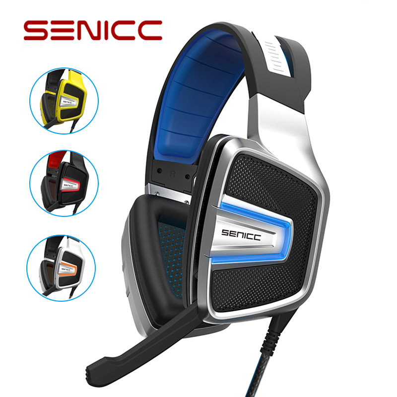 SENICC A8 Virtual 7.1 Stereo Noise Canceling Gaming Headphones USB LED Isolating Gamer Headset For CS LOL PUBG Games for PC PS4