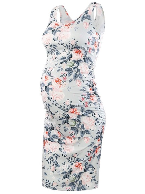 5b1d45d4cab1e Maternity Sleeveless Dresses Maternity Clothes Bodycon Floral Tank Dress  Mama Scoop Neck Baby Shower Pregnancy Dress Flower