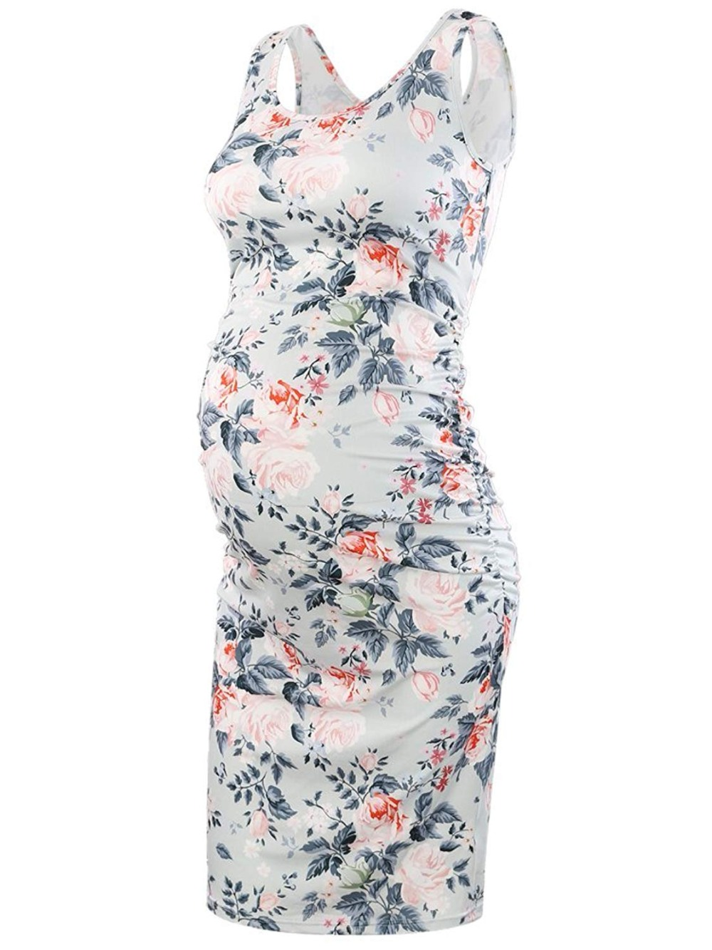 Maternity Sleeveless Dresses Maternity Clothes Bodycon Floral Tank Dress Mama Scoop Neck Baby Shower Pregnancy Dress Flower