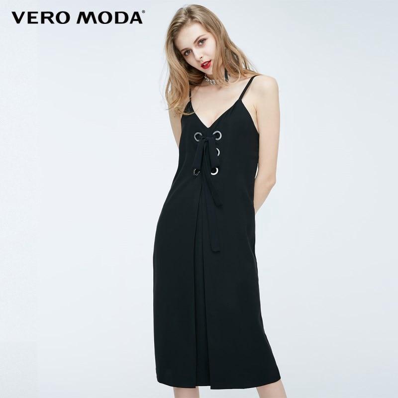 Vero moda camisole strap anel de metal das mulheres sem encosto sexy vestido de pura 2019   31827A508
