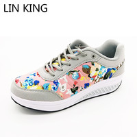 Vintage Floral Casual Women Swing Shoes Wedge Lose Weight Muffins Lace Up Platform Elevator Shoes Fashion