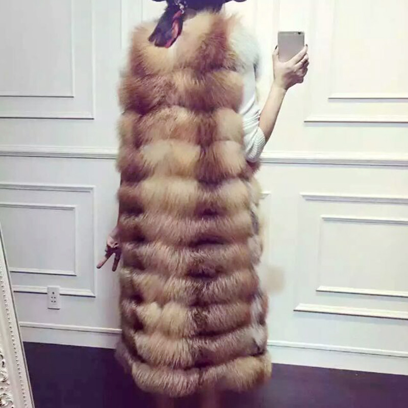 Russian Winter Vests 2016 Of Real Fox Fur Vest Women colete feminino de inverno Natural Fur Coats Long Vest Sleeveless Jackets