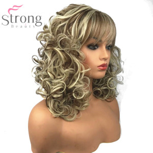 Image 4 - StrongBeauty Womens Synthetic Wigs Long Curly Hair Beige Blonde Mix Capless Natural Wigs