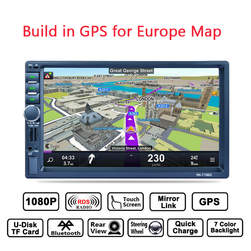 GUBANG 7 Touch Screen Bluetooth MP5 Player GPS RDS Mirror Link with 8GB Europe Map WCE system