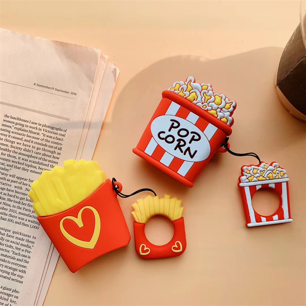 3d French Fries Popcorn Box Silicon Gel Rubber Protection Case For Airpods Kawaii Cute Cover For Apple Airpods Keyring Funda