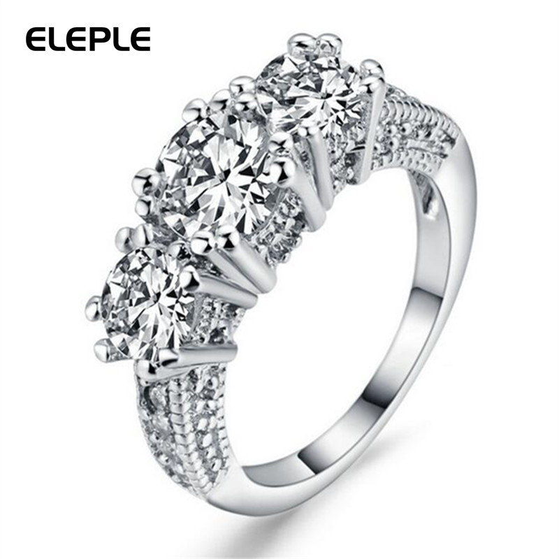 Eleple White Gold Color Wedding Bands Rings For Women Man Gits AAA+ Cubic Zirconia Ring  ...