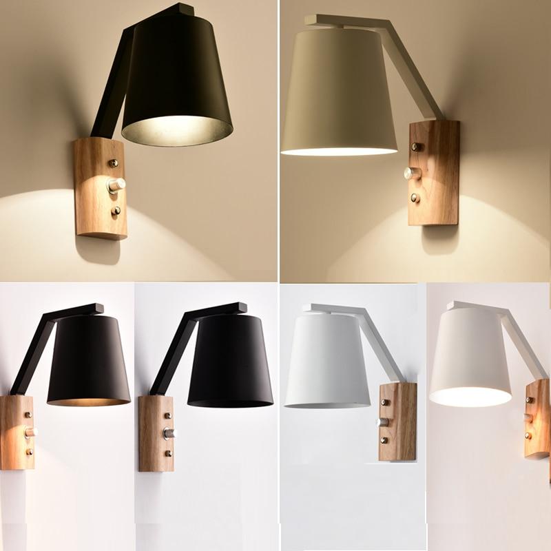 Lampă de perete modernă din lemn de epocă, sconce, abajur de - Iluminatul interior
