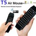 T5 2.4G Sem Fio Air Mouse Teclado de Controle Remoto Universal USB Receptor sem fio Com IR Aprender Mic Opcional Para A Caixa De Tv PC