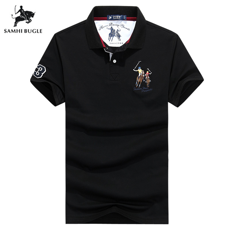 High Quality Tops&Tees   Polo   Shirt Men Business Casual Brands   Polo   Shirts 3D Embroidery Turn-down Collar