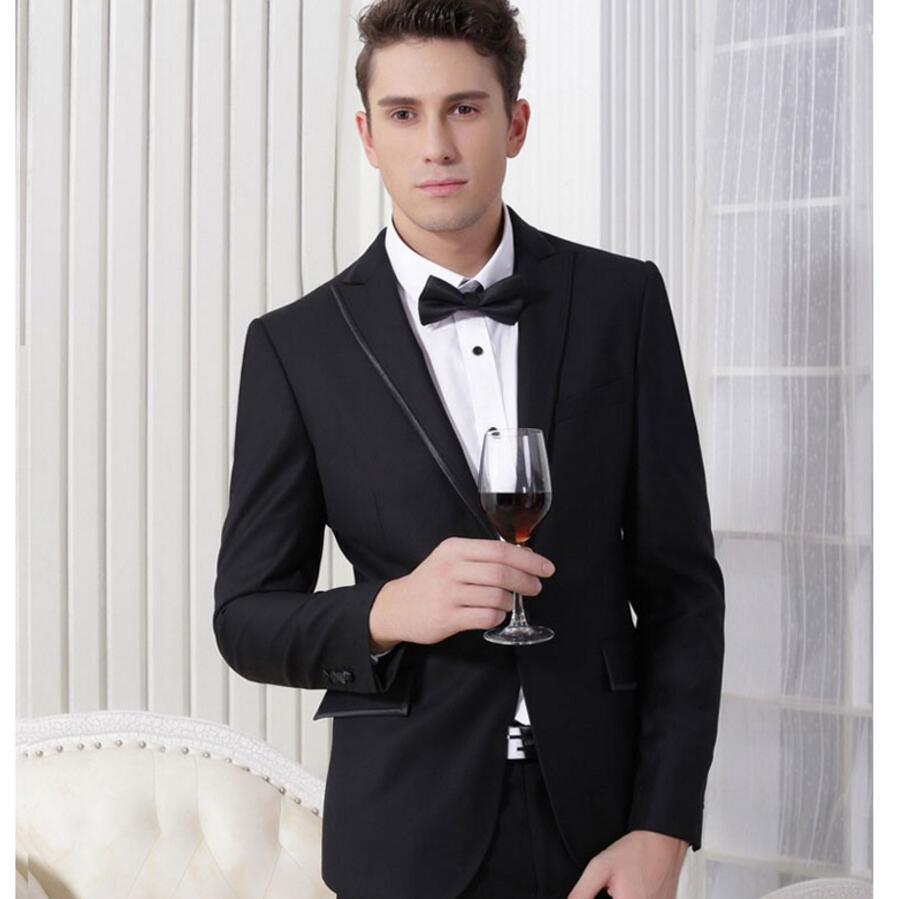 (Jacket + Pant) Western style Black Color Men Business Suits custom Boss Dress Suit For Men's Wedding and Business