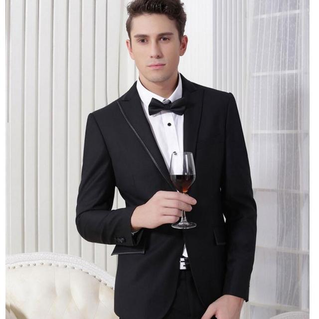 Jacket + Pant) Western style Black Color Men Business Suits custom ...