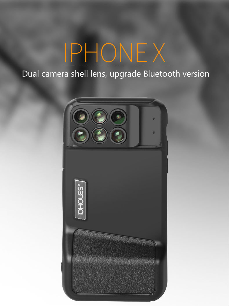 Bluetooth Phone Lens Wide-angle Macro Fisheye Telephoto Focal Length Portrait Blur Lens with Phone Cover For iPhone X image