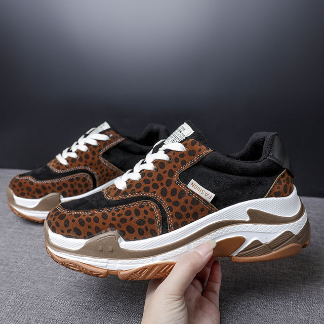 8624a887be0a 2018 Leopard Print Women Sneakers Casual Shoes Trends Ins Female Flats  Platform Spring Autumn Lace Up Shoes Woman 15D50