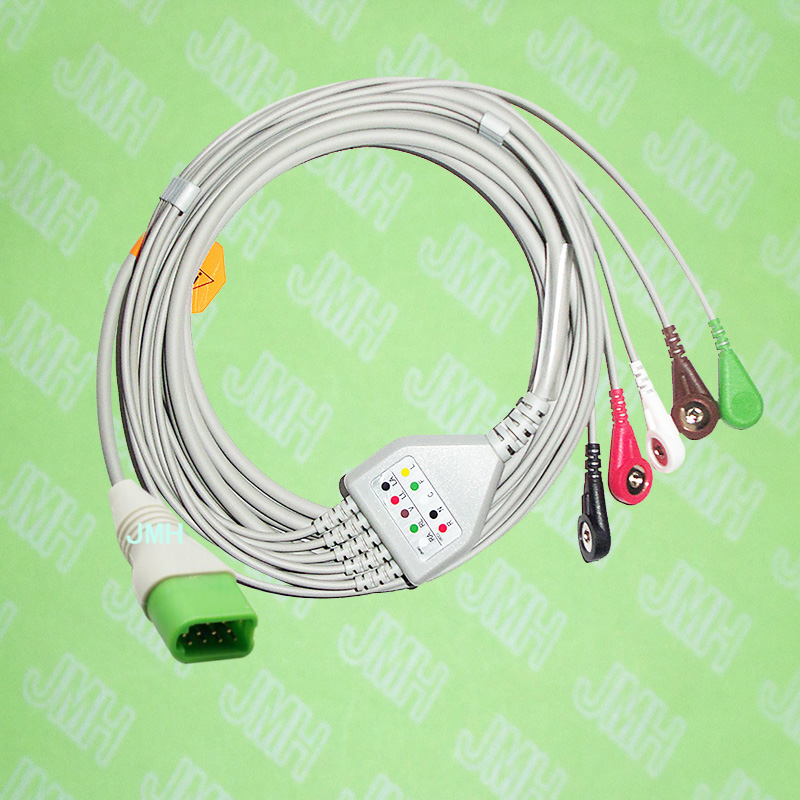 Compatible 12pin Mindray Datascope passport V, V12, V21 ECG Machine the one-piece 5 lead cable and snap leadwire,IEC or AHA.Compatible 12pin Mindray Datascope passport V, V12, V21 ECG Machine the one-piece 5 lead cable and snap leadwire,IEC or AHA.