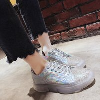 2019 New Women's Full Diamond Rhinestones Jelly Shoes Thick soled Women's Shoes Ins Lace Old Shoes Sneakers Plafform Girl