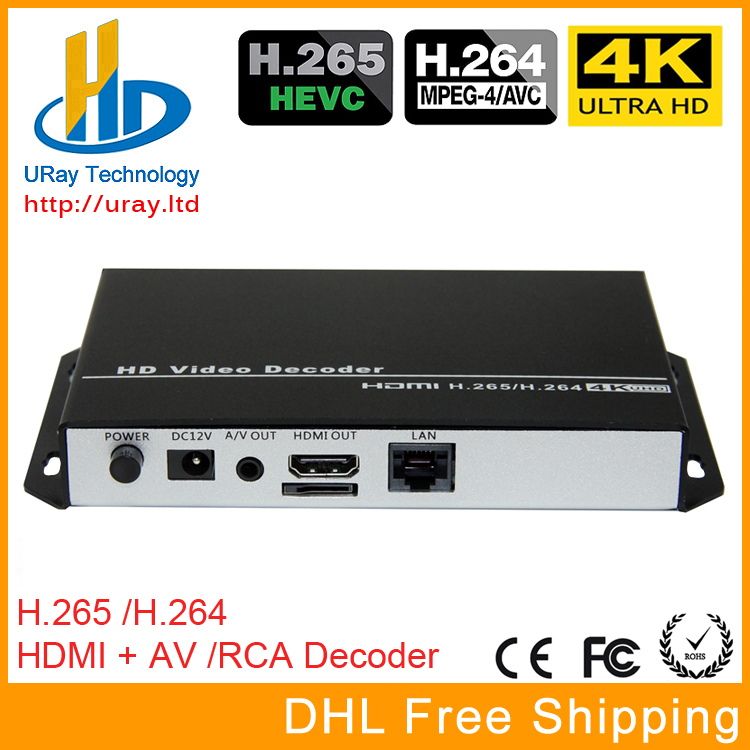 URay HEVC 4K Ultra HD H.265 / H265 And H.264 / H264 HDMI AV RCA Video Streaming Decoder For Decoding HTTP RTSP RTMP UDP Encoder http