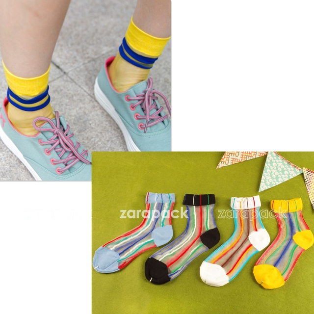 Designer 3 or 5 pcs Sheer Multi Color Ribbon Striped See Through Ankle Socks