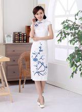 New Chinese Women's Long Cotton Qipao Handmade Embroidery Flower Cheongsam Vintage Button Dress Size S M L XL XXL C0011