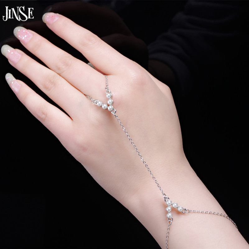 JINSE Women Imitation Pearls Chain Link Bangle Slave ...