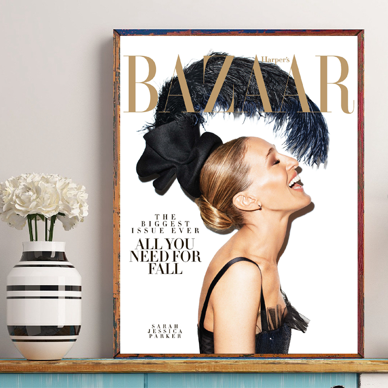 Sarah Jessica Parker Magazine Cover Wall Art Canvas Painting Quotes Wall Pictures Vogue Cover Fashion Decor Pictures Unframed in Painting Calligraphy from Home Garden