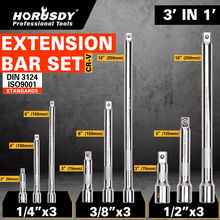 HORUSDY 9Pcs 1/4 3/8 1/2 Sockets Wrenche Drive Extensions Extend Bars Set Ratchet Wrenches Hand Tool