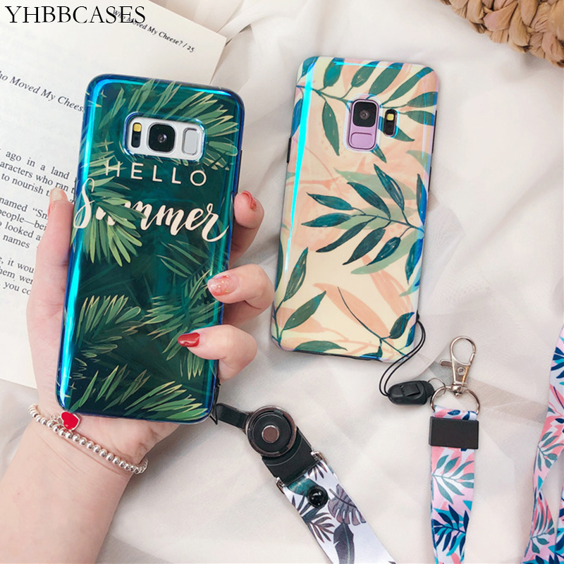 YHBBCASES Retro Plant Leaves Soft Cover For Samsung Galaxy S8 S9 S10 Plus For Samsung Note 10 8 9 Fashion Leaf Case With Lanyard