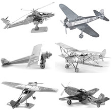Various Kinds Fighter Aircraft Plane Helicopters 3D Metal Puzzle For Adult Educational Toys Jigsaw Puzzle Kids Toys For Boy