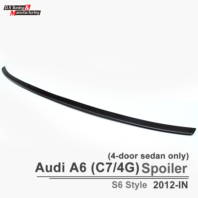 A6 C7 S6 Style Carbon Fiber Spoiler Rear Trunk Back Wing For Audi A6 C7 / 4G 2012 - IN 4-Doors Sedan Only
