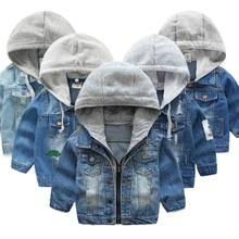 4c9143ae5e1 2018 niños chaqueta de mezclilla niños Jean abrigo ropa moda casual niñas  cárdigan niños prendas de abrigo vaquero Niño con capu.
