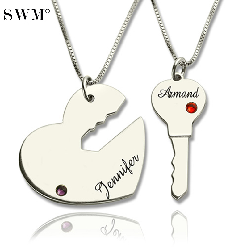 Paired Pendants Key to And Heart Necklace Custom Name Necklaces Crystal Stone Collares Sterling Silver Pendant