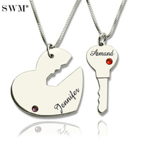 Paired Pendants Key to And Heart Necklace Custom Name Necklaces Crystal Stone Collares Sterling Silver Pendant for Couple Bijoux