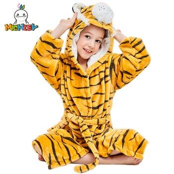 MICHLEY Baby Robe bluzy z kapturem z motywem kreskówkowym dziewczyna chłopcy bielizna nocna dla dzieci urocza bluza dziecięca żółty tygrys szlafroki plażowe piżamy