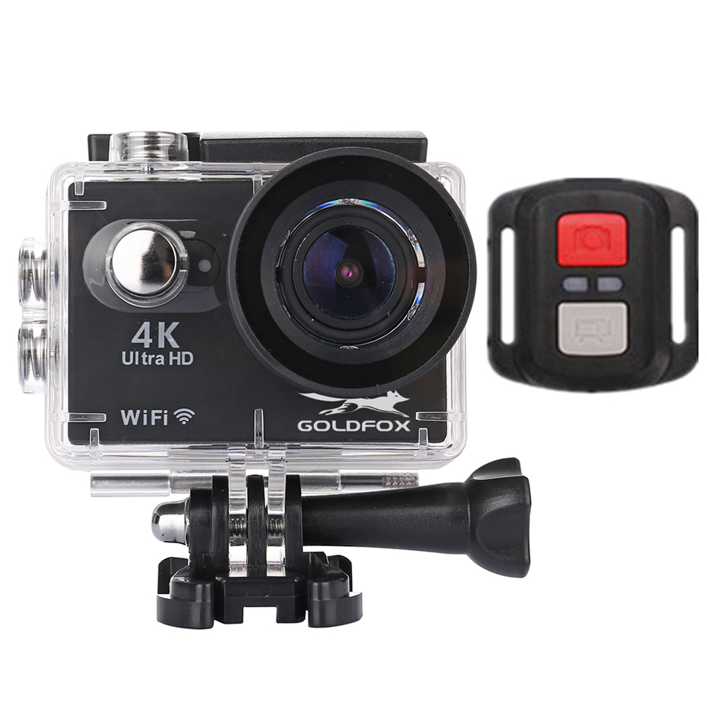 Goldfox Ultra HD 4K go Waterproof pro Wifi Action Camera Remote Control HD 2.0 Touch Screen Camcorder 170 Wide Angle Sport Cam action camera h3r h3 ultra hd 4k 170d lens go dual screen camera pro waterproof 30m remote control sport camera