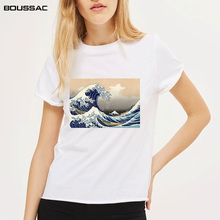 New Fashion Female T-shirts for Women Harajuku Tops Summer Short Sleeve Tees Great Wave Print T Shirt Women White Tees & Tops new fashion t shirts for women harajuku tops eye print short sleeve tees cotton female tshirt woman white tee top camiseta mujer