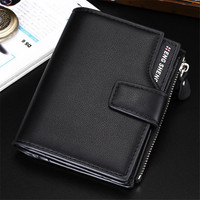 Europe And The United States Men Black Coffee Gold Blue PU Leather Mini Wallet Men S