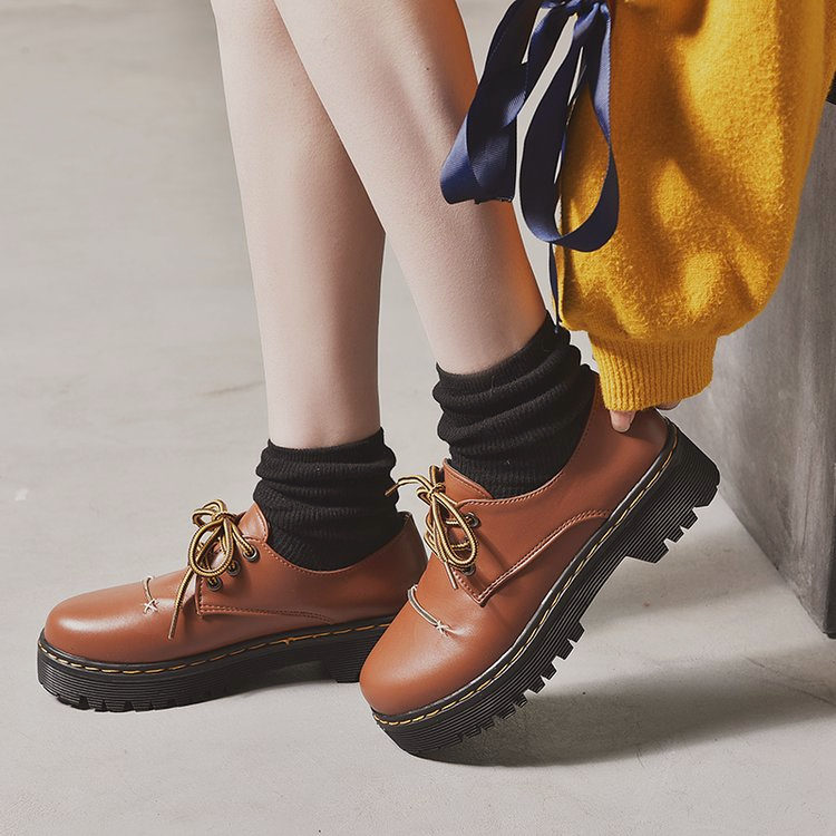 Student Shoes Lady College Girl Warm Shoes Uniform Shoes PU Leather Vintage Style High-heeled Platform Shoes