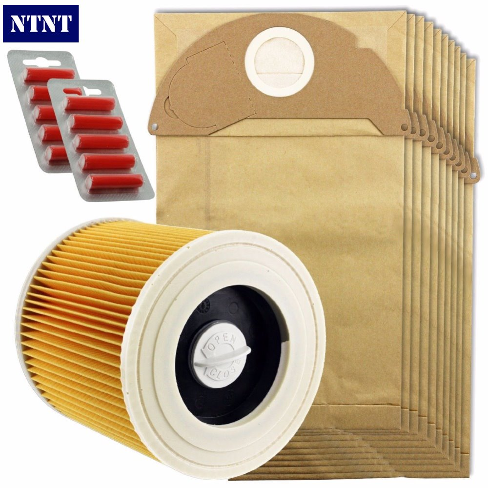 NTNT 10Pcs Dust dust bag,10 Fresheners & 1 X Filter Kit for Karcher A2054 and A2064 Vacuum Cleaner,10 Bags + 10 Fresheners ntnt free post new 15 pcs dust bag and 1x filter kit for karcher vacuum cleaner a2054 a2064 15 bags