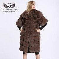 2016 New Winter Whole Skin Fox Fur Coat Women Jacket Waistcoat Outerwear Long Paragraph Leather Fur Coat Plus Size BF C0115