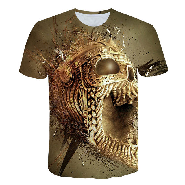"2019 3D T חולצה גולגולת 3d הדפסת גברים חולצה מות Tees חולצה חולצות מגניב Streetwear ארה""ב גודל T חולצות"