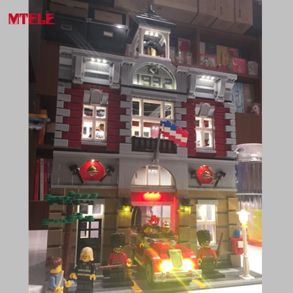 Mtele бренд со светодиодной подсветкой Комплект Игрушка для пожарной станции создатель город улица Модель compatile с <font><b>LEGO</b></font> 10197