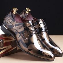 Chaussures pointues en cuir artificiel pour hommes, grande taille 47 48 49, mode business, fleur foncée