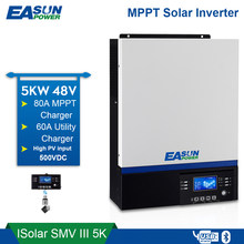 EASUN POWER — onduleur 5000W 500V DC entrée PV 230V AC, 48V DV, 80 A, MPPT, commande LCD, USB, Bluetooth