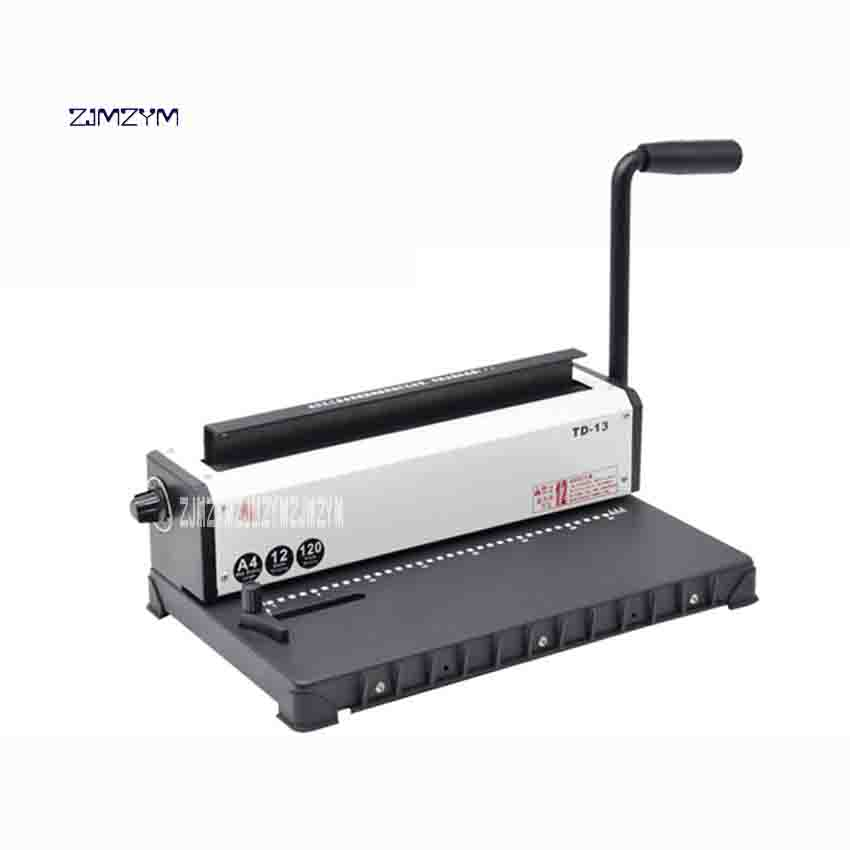 New Arrival TD-13 Double-coil Iron Ring Punch Binding Machine 34 Holes Desk Calendar Pressure Ring Binding Hole Puncher 4 * 4mm free shipping office school hole puncher round double hole binding manual drilling machine fashion portable mini easy to use