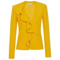 Sisjuly Women Blazer Spring Summer Yellow Brief Falbala Double Pocket Polyester Slim V Neck Long Sleeve