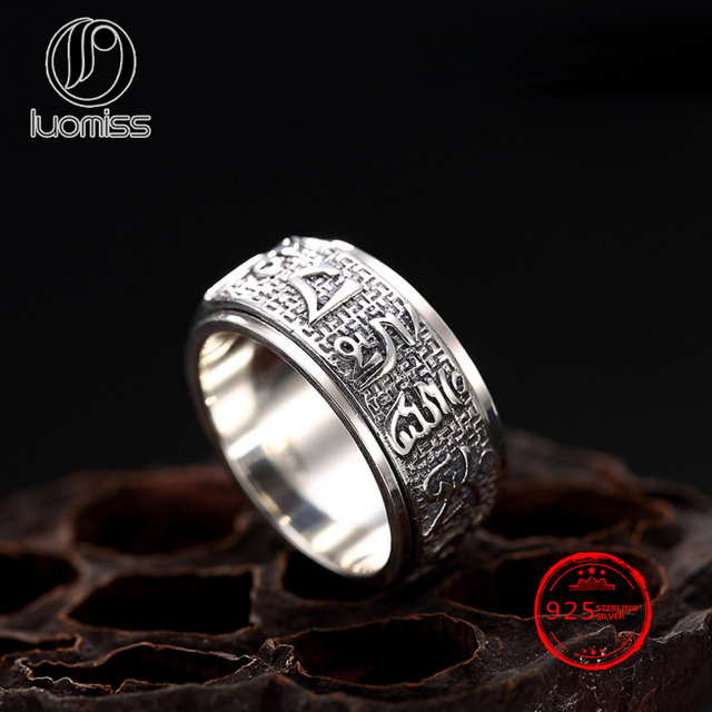 ba8afce5170bd Solid 925 Silver Ring Lucky Mantra Ring Sanskrit Buddhist Six Words Mantra